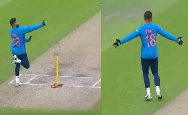 Virat Kohli imitates Jasprit Bumrah Bowling Action - Sakshi