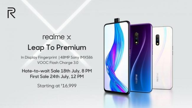 Realme X With Pop-Up Selfie Camera Launched in India  - Sakshi