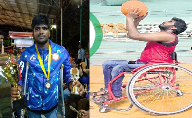 Ichapuram Wheel Chair Basket Ball Player Playing For Telangana - Sakshi