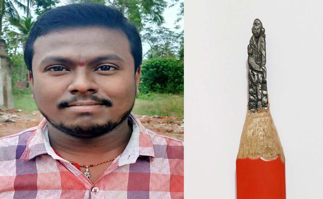 A Artist Curved Sai Baba Idol On Pencil Thorn In East Godavari - Sakshi