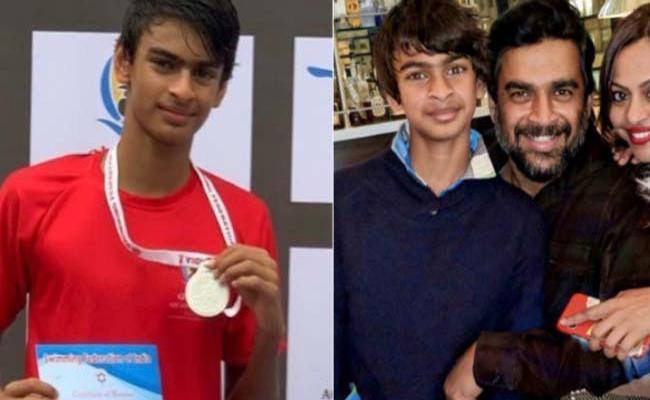 Madhavan Son Vedant Won Gold Medal In Swimsuit - Sakshi