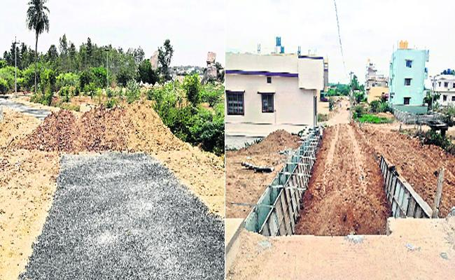 Construction Of A Special Road For Telugu Desam Party Leaders Lands - Sakshi