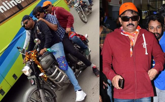 RGV Shared His Triple Riding Without Helmet Pic Goes Viral - Sakshi