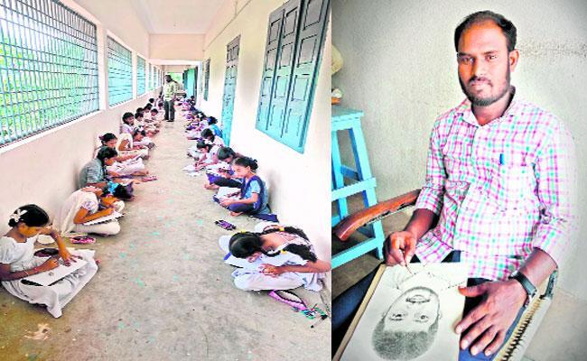 Craft Teacher Pencil Drawing In Tatipaka East Godavari - Sakshi