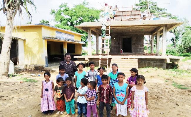 Temple Constructed Front Of The School In RH Puram Srikakulam District - Sakshi