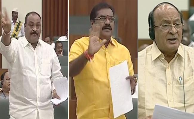 Three TDP MLAs Suspended From AP Assembly - Sakshi