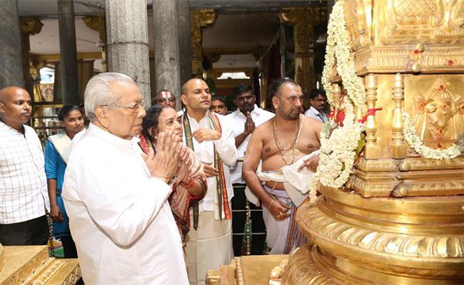 The New Governor Of Andhra Pradesh Biswabhushan Harichandan Has Visited Thiruchanur Sri Padmavati Ammavaru - Sakshi