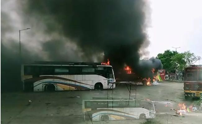 Two Private Buses Were Destroyed Fire In Koyambedu - Sakshi