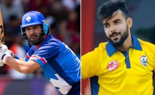 Yuvraj Singh stuns Shadab Khan with one of the flattest sixes - Sakshi