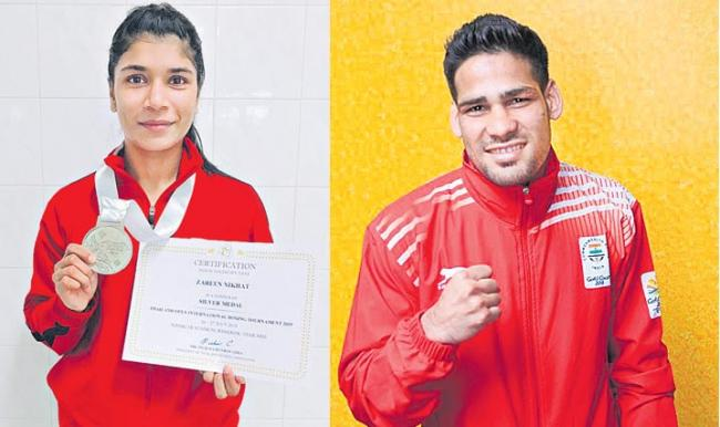 nikhat-zareen and hussamuddin wins silver in thailand open international boxing - Sakshi