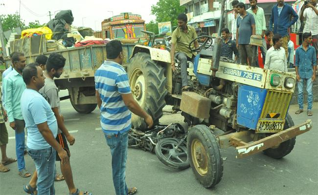 Tractor Driver Negligence Costs  Person Life - Sakshi
