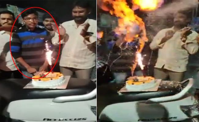 Man Head Burnt In Birthday Celebration In Rajahmundry - Sakshi