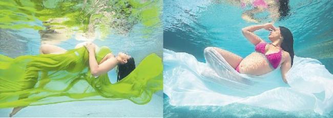 Sameera Reddy flaunts baby bump in underwater photoshoot - Sakshi
