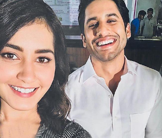 rashi khanna selfie with naga chaitanya in venky mama shooting - Sakshi