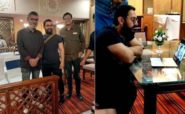 Aamir Khan Pays Surprise Visit to Dangal Director Tiwari in Delhi - Sakshi