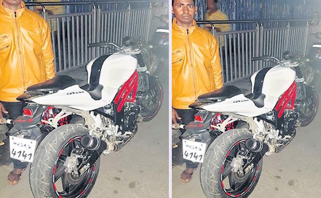 Biker Booked for Improper Silencer In Hyderabad - Sakshi