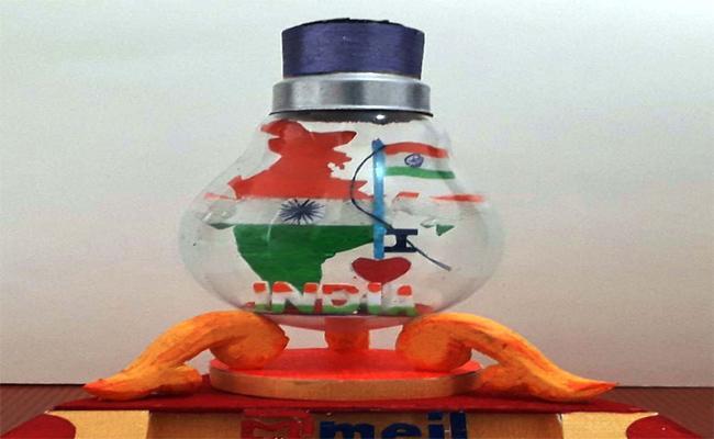 Person Made Indian Map In Electric Bulb In Vajrapukotturu - Sakshi