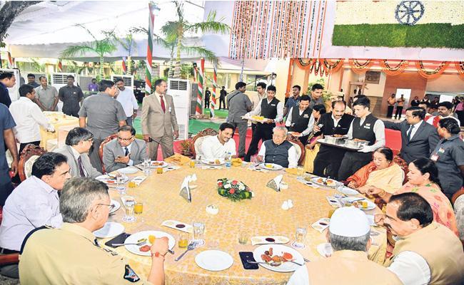 CM YS Jagan Attend At Home Program of Governor Harichandan - Sakshi