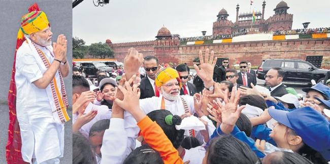 PM Narendra Modi speech at 73rd Independence Day Celebrations at Red Fort - Sakshi
