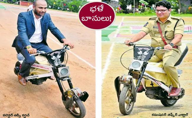 Khammam Collector, SP Raids on Battery Bike  - Sakshi
