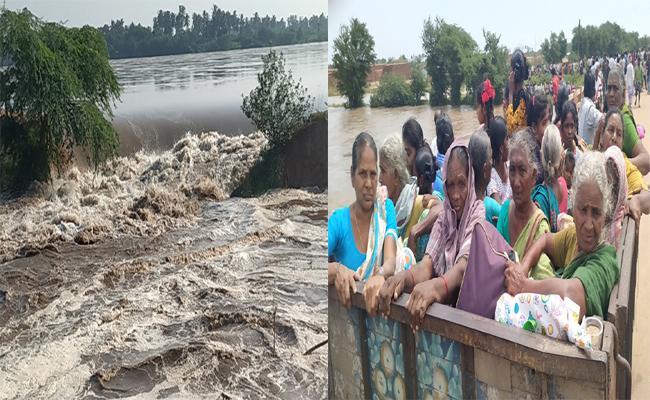 Guntur District Lanka Villages Lies Under Flood Water - Sakshi