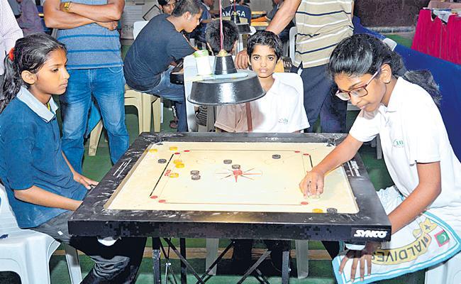 Karthik Varsha And Nandini Enter Final Of Carrom Tourney - Sakshi