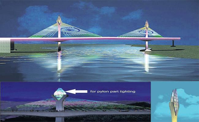 Lighting Effects to Durgam Cheruvu Cable Bridge - Sakshi