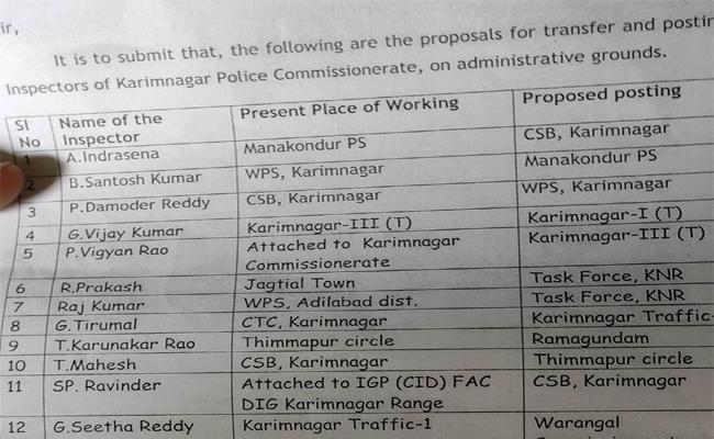 Karimnagar Police Commissioner Serious On Inspectors Transfer Issue Leakage - Sakshi