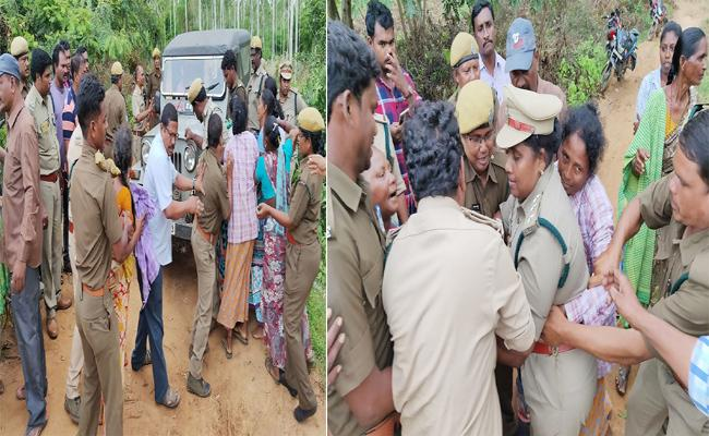 Police Resisted By People In land Issue West Godavari - Sakshi