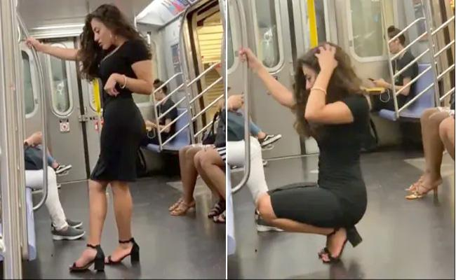 New York Woman Photoshoot On A Train Is Viral - Sakshi