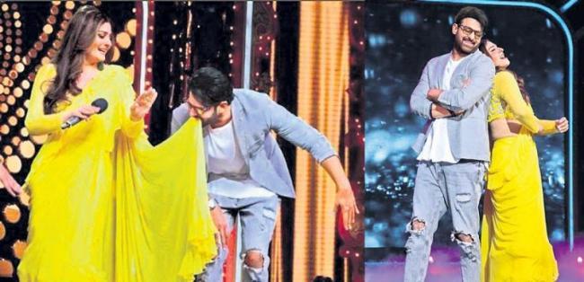 Prabhas Crazy Dance With Raveena Tandon on Tip Tip Barsa Pani song - Sakshi