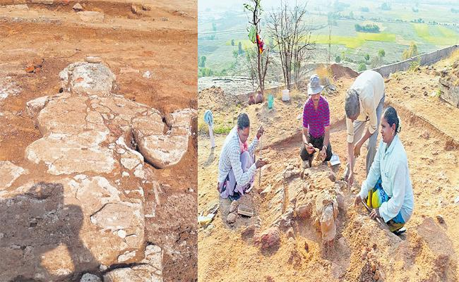 The Sculpture Of Phanigiri Stupas Made By Dung-Lime Is Fragmenting Due To Weather Prone - Sakshi