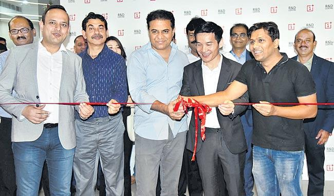 KTR launches OnePlus R&D centre in Hyderabad - Sakshi