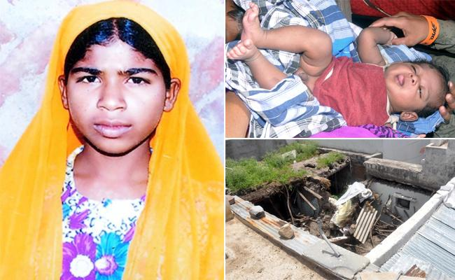 KA Mother Save Her Child In Lap But She Died In House Collapse - Sakshi
