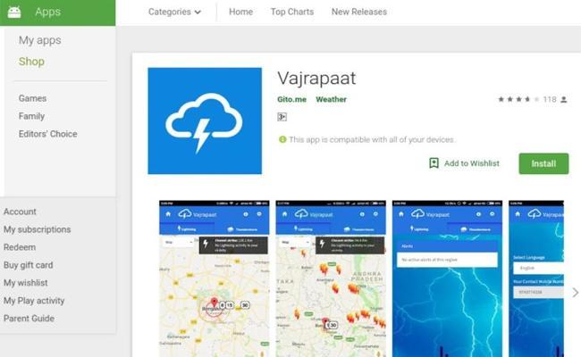 Thunderbolt Falling Alerts Can Notify On Smart Phones - Sakshi