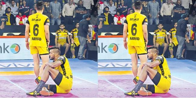Telugu Titans and U.P. Yoddha play out the first tie of Season 7 - Sakshi