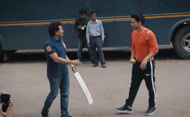 Sachin Plays Gully Cricket With Abhishek Bachchan And Varun Dhawan - Sakshi