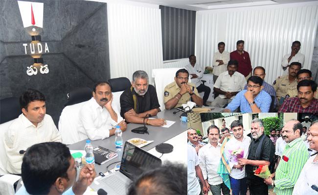 TUDA Chairman Chevireddy Bhaskar Reddy At TUDA Office Discussing Tirupati Development And Welfare Schemes - Sakshi