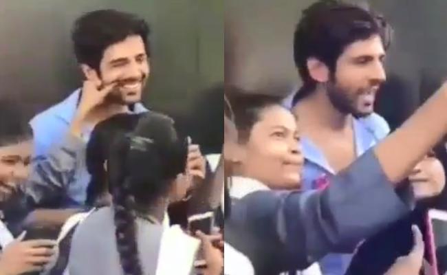 Girl Pulls Luka Chuppi Star Kartik Aaryan Cheeks - Sakshi