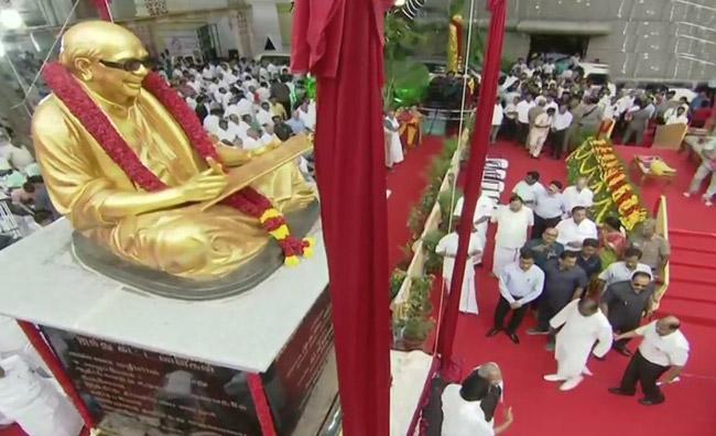Mamata Banerjee Unveils Statue Of Former Tamil Nadu Chief Minister Karunanidhi In Kodambakkam - Sakshi