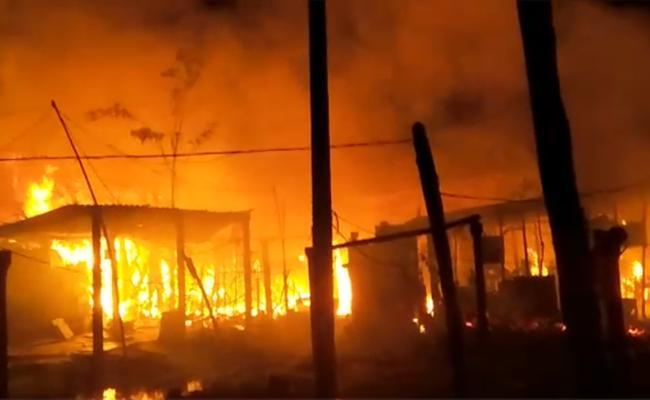 Fire Accident In Machilipatnam At Krishna District - Sakshi
