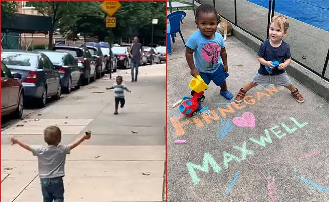 Video Of Kids Running To Each Other On New York Street - Sakshi