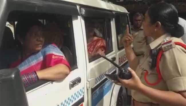 Nannapaneni Rajakumari Scolds Dalit Woman SI at Chandrababu Residence - Sakshi