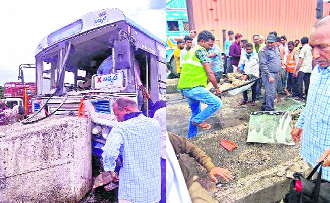 Bus Accident At Ganjal Toll Plaza, 24 People Injured - Sakshi