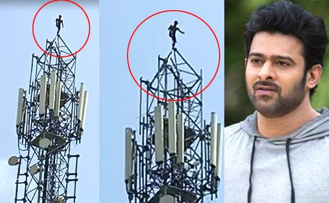 Jangam Youth Climbs Cellphone Tower For Prabhas - Sakshi
