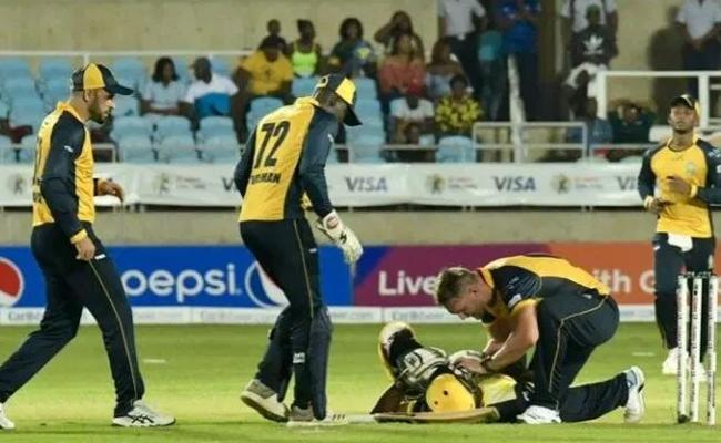 Andre Russell Suffers Brutal Blow On Helmet In CPL - Sakshi