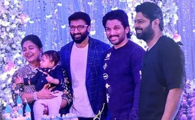 Allu Arjun And Prabhas Attends Gopichands Son Birthday Event - Sakshi