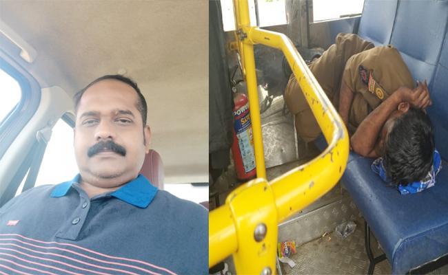 Bus Driver Sleeping While Bus Running in Karnataka - Sakshi