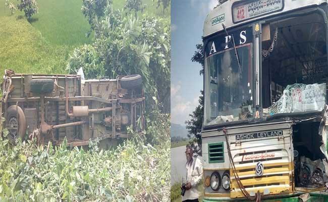 Man Killed Srikakulam District Bus Accident  - Sakshi