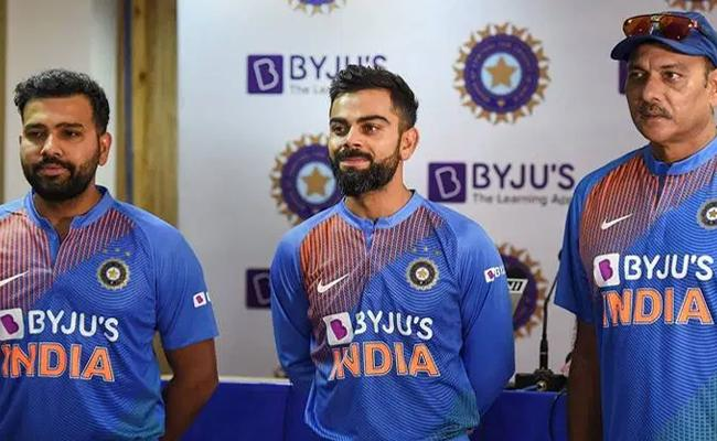 Team India Jersey With New Sponsor Logo Unveiled In Dharamsala - Sakshi